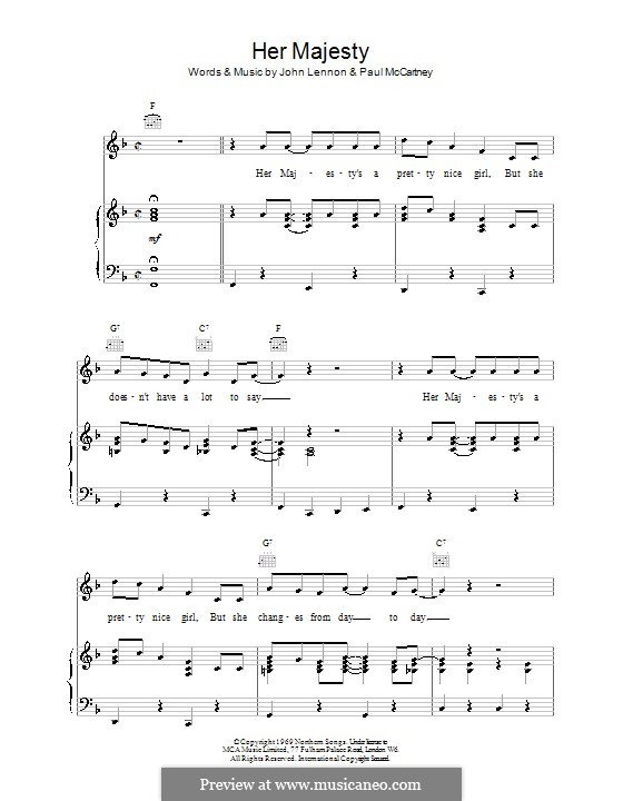 Her Majesty (The Beatles): For voice and piano (or guitar) by John Lennon, Paul McCartney