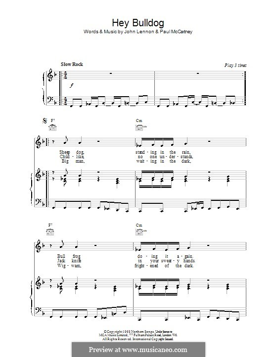 Hey Bulldog (The Beatles): For voice and piano or guitar (F Major) by John Lennon, Paul McCartney