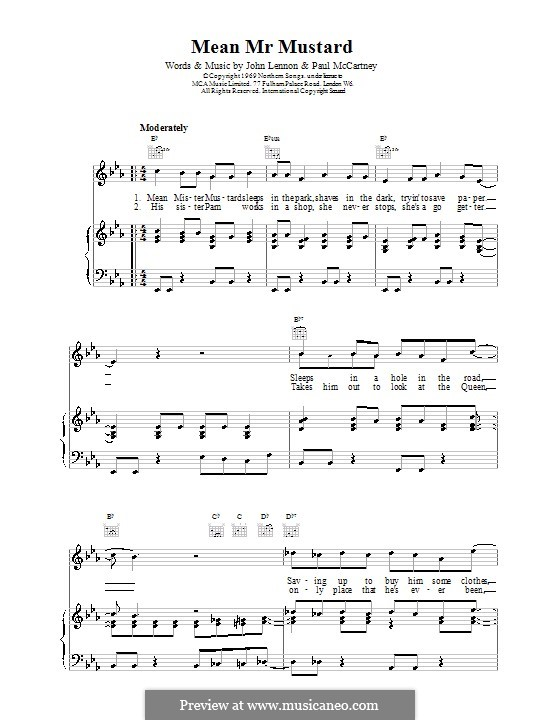 Mean Mr. Mustard (The Beatles): For voice and piano (or guitar) by John Lennon, Paul McCartney