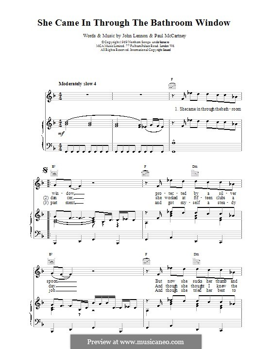 She Came in Through the Bathroom Window (The Beatles): For voice and piano (or guitar) by John Lennon, Paul McCartney