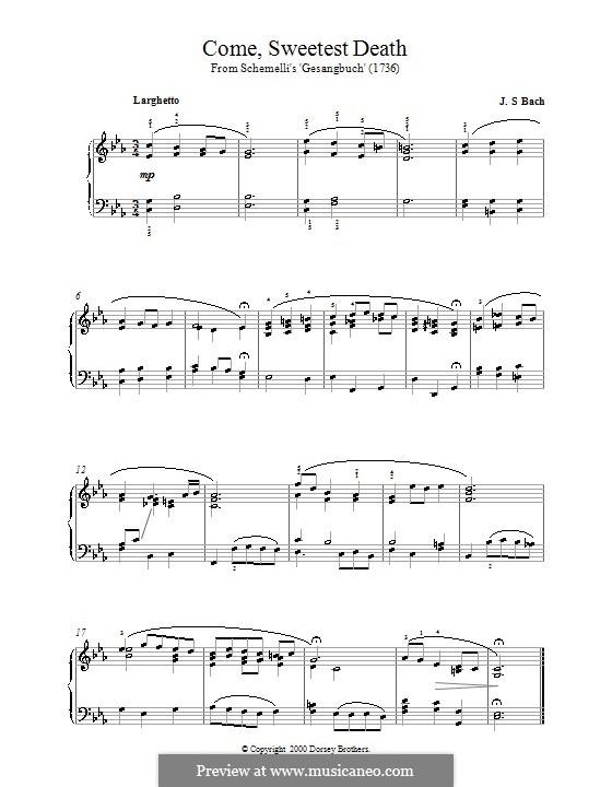 Come, Sweet Death: For piano by Johann Sebastian Bach