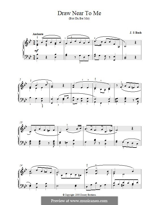 No.25 Bist du bei mir (You Are with Me), Printable scores: For piano (B Flat Major) by Johann Sebastian Bach
