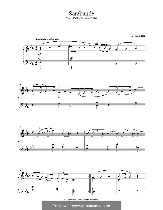 Suite for Cello No.4 in E Flat Major, BWV 1010: Sarabande, for piano by Johann Sebastian Bach