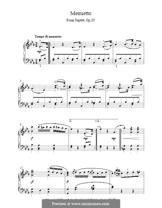 Septet for Winds and Strings, Op.20: Movement III. Version for piano by Ludwig van Beethoven