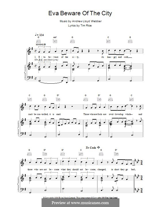 Eva Beware of the City: For voice and piano (or guitar) by Andrew Lloyd Webber