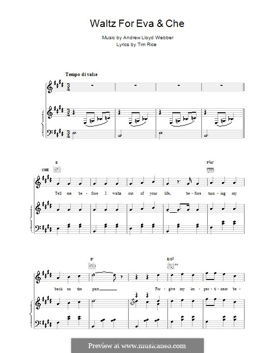 Waltz for Eva and Che: For voice and piano (or guitar) by Andrew Lloyd Webber