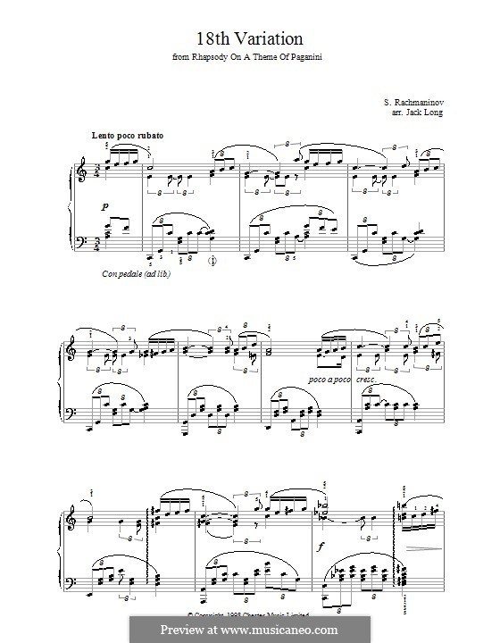 Rhapsody on a Theme of Paganini, Op.43: Variation XVIII, for piano by Sergei Rachmaninoff