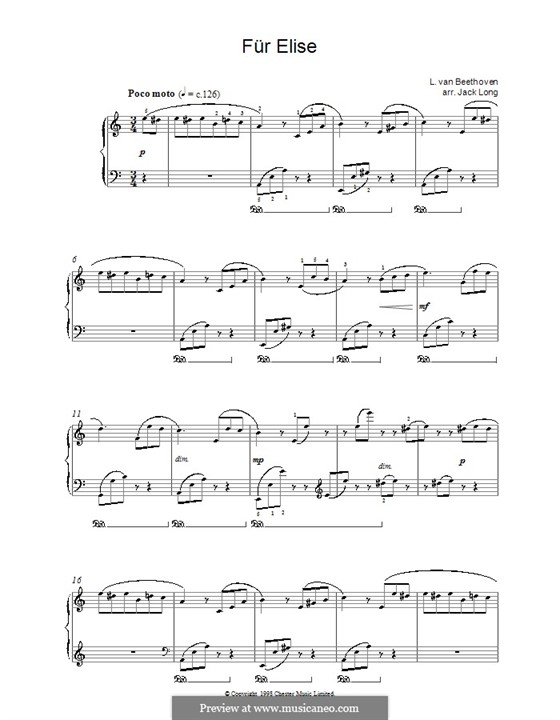 For Elise, for Piano, WoO 59: Version by Jack Long by Ludwig van Beethoven