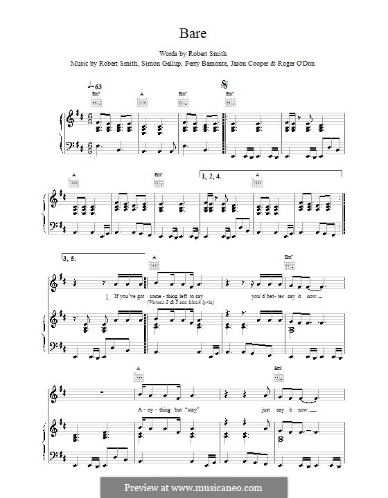 Bare (The Cure): For voice and piano (or guitar) by Robert Gary Smith