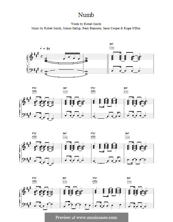 Numb (The Cure): For voice and piano (or guitar) by Robert Gary Smith