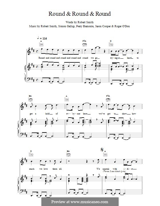 Round & Round & Round (The Cure): For voice and piano (or guitar) by Robert Gary Smith