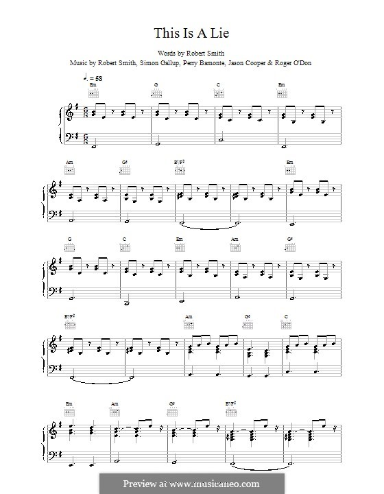 This Is a Lie (The Cure): For voice and piano (or guitar) by Robert Gary Smith