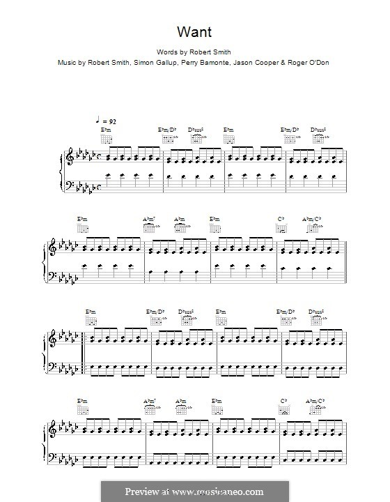Want (The Cure): For voice and piano (or guitar) by Robert Gary Smith