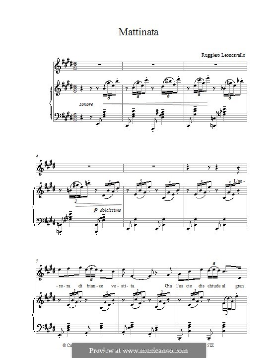 Mattinata: Piano-vocal score (high quality sheet music) by Ruggero Leoncavallo
