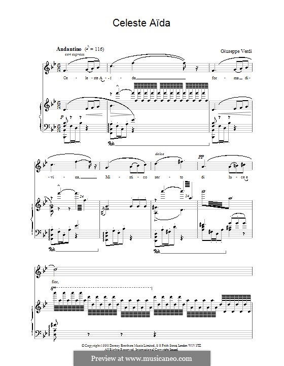 Celeste Aida: For voice and piano by Giuseppe Verdi