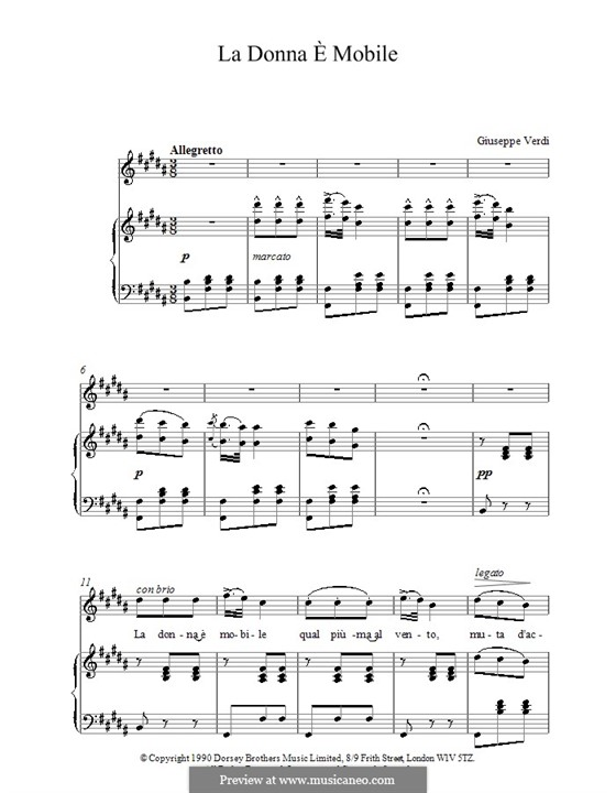 La donna è mobile (Over the Summer Sea): For voice and piano (high quality sheet music) by Giuseppe Verdi