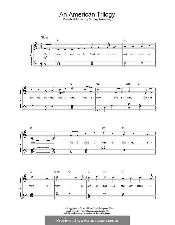 An American Trilogy (Elvis Presley): For easy piano by Mickey Newbury