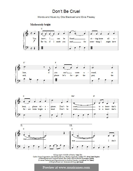 Don't Be Cruel: For easy piano by Elvis Presley, Otis Blackwell