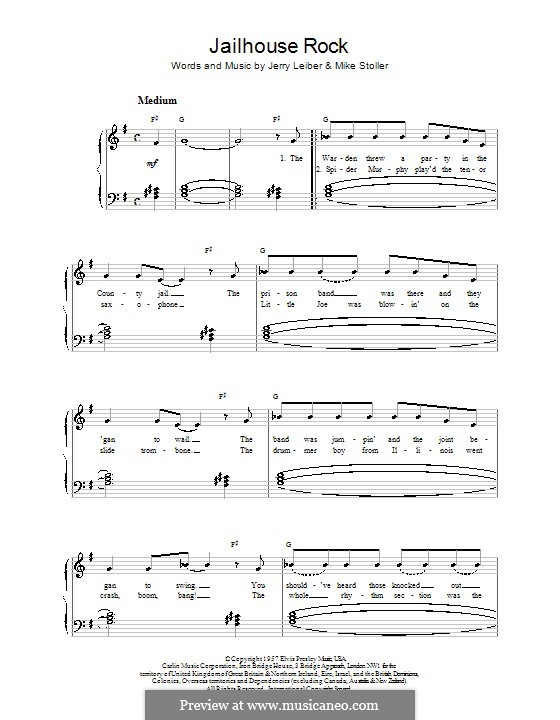 Jailhouse Rock (Elvis Presley): For easy piano by Jerry Leiber, Mike Stoller