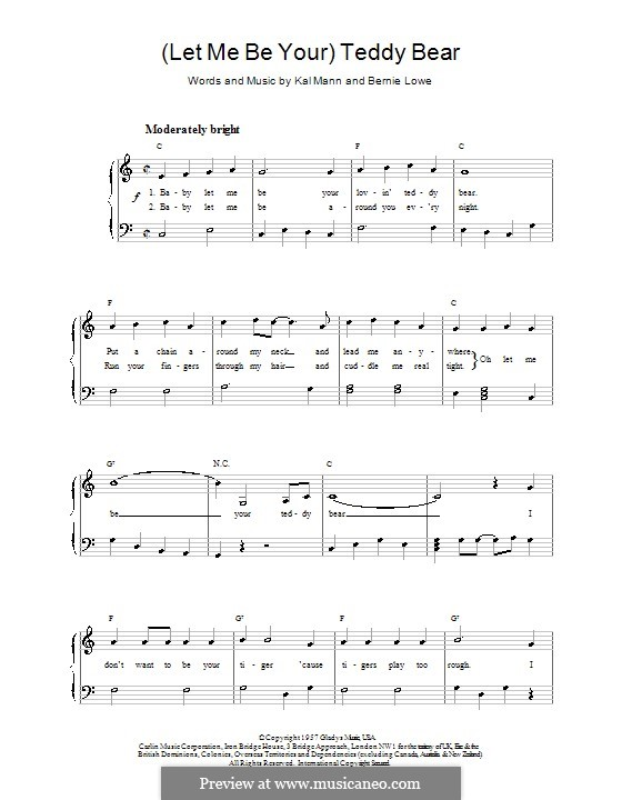(Let Me Be Your) Teddy Bear (Elvis Presley): For easy piano by Bernie Lowe, Kal Mann