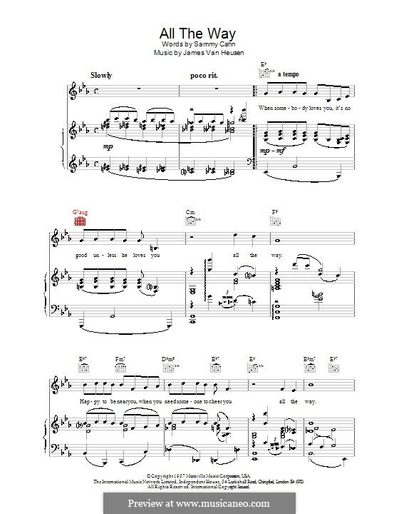 All the Way (Frank Sinatra) by J.V. Heusen - sheet music on MusicaNeo