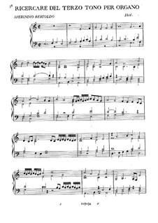 Ricercare del terzo tono per organo: Ricercare del terzo tono per organo by Sperindio Bertoldo