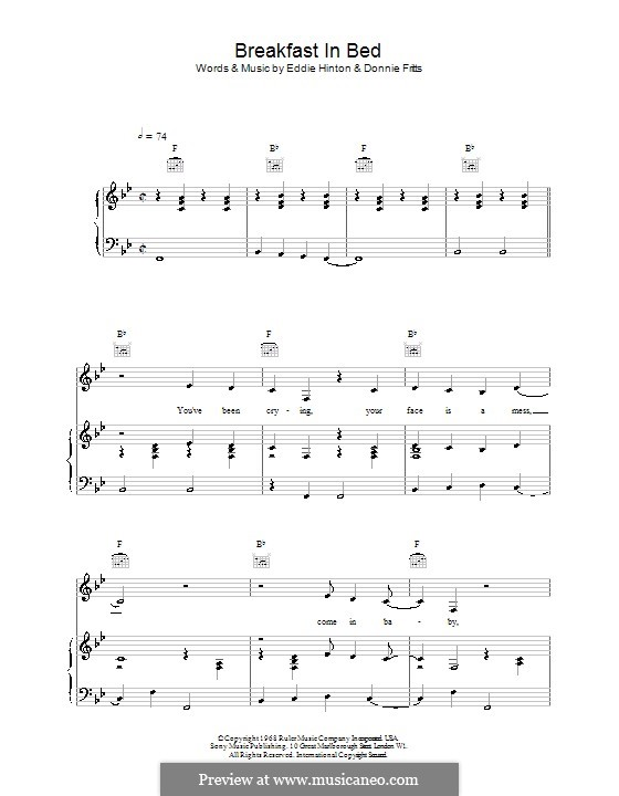 Breakfast in Bed (UB40): For voice and piano (or guitar) by Donnie Fritts, Eddie Hinton