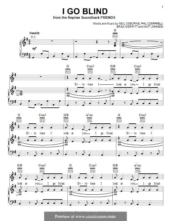 I Go Blind (Hootie & The Blowfish): For voice and piano (or guitar) by Brad Merritt, Matthew Johnson, Neil Osborne