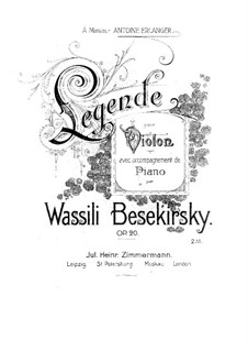Legende, Op.20: Legende by Vasily Bezekirsky