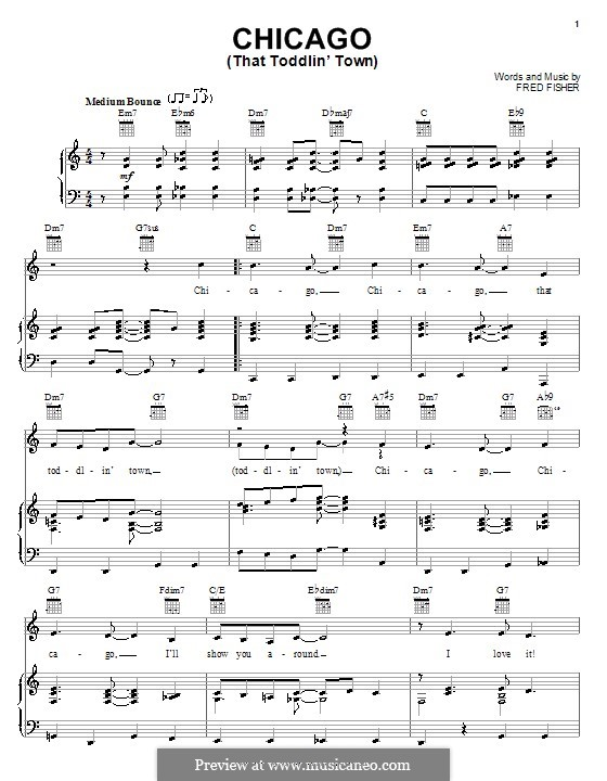 Chicago (That Toddlin' Town): For voice and piano or guitar (Frank Sinatra) by Fred Fisher