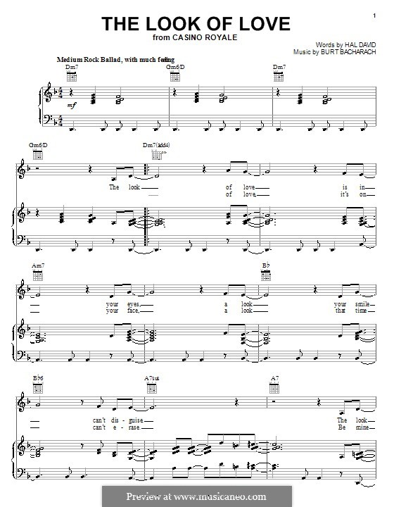 The Look Of Love By B Bacharach Sheet Music On Musicaneo