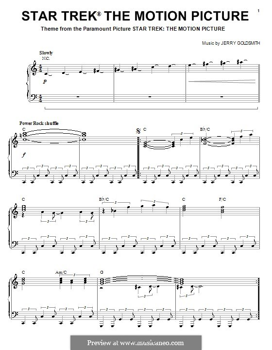Theme from Star Trek: The Motion Picture: For piano by Jerry Goldsmith