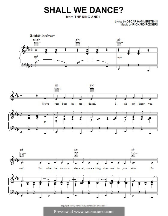 Shall We Dance? (from The King and I): For voice and piano or guitar by Richard Rodgers