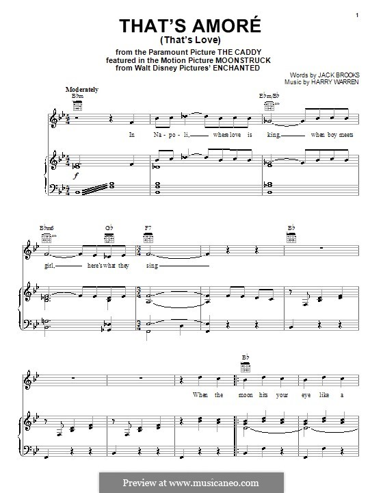 That's Amore (That's Love): For voice and piano (or guitar) by Harry Warren