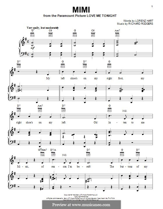 Mimi: For voice and piano (or guitar) by Richard Rodgers
