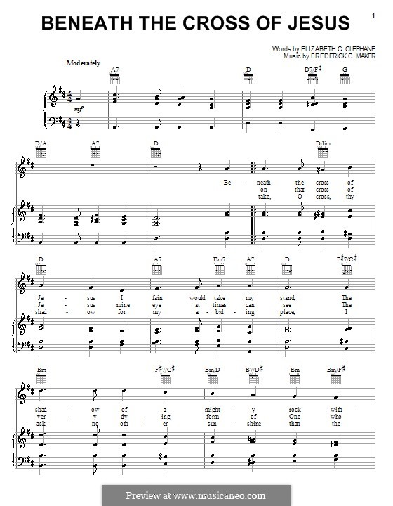 Beneath the Cross of Jesus: For voice and piano (or guitar) by Frederick Charles Maker