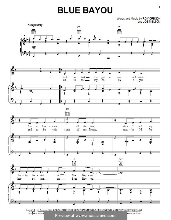 Blue Bayou Linda Ronstadt By J Melson Sheet Music On Musicaneo
