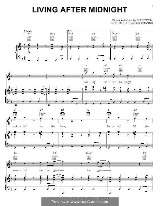 Living After Midnight (Judas Priest): For voice and piano (or guitar) by Glenn Tipton, K. K. Downing, Robert Halford