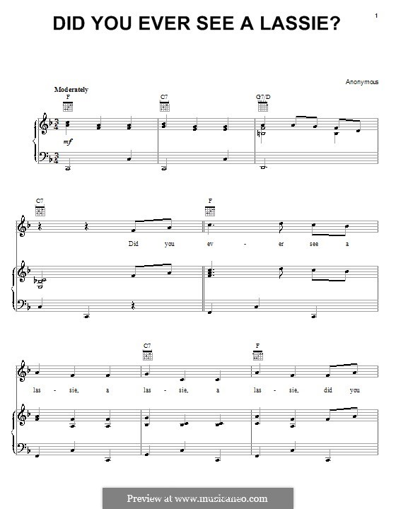 Did You Ever See a Lassie?: For voice and piano (or guitar) by folklore