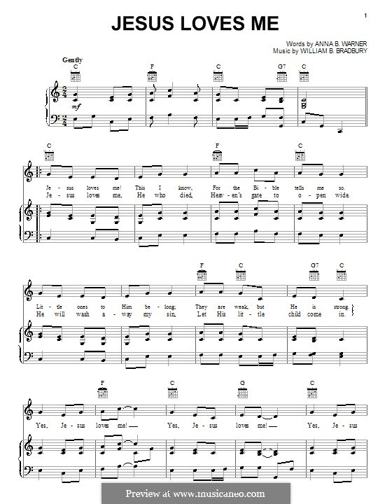 Jesus Loves Me: For voice and piano (or guitar) by William Batchelder Bradbury