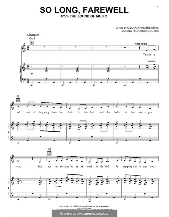So Long, Farewell (from The Sound of Music): For voice and piano (or guitar) by Richard Rodgers