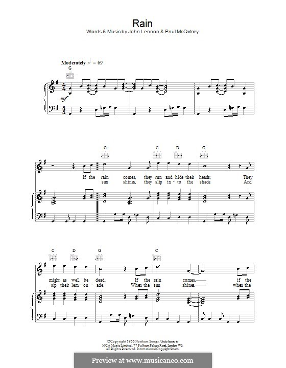 Rain (The Beatles): For voice and piano (or guitar) by John Lennon, Paul McCartney