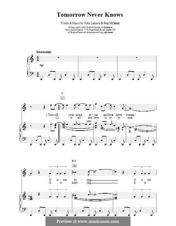 Tomorrow Never Knows (The Beatles): For voice and piano (or guitar) by John Lennon, Paul McCartney