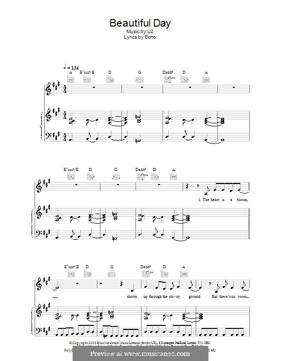 Beautiful Day: For voice and piano (or guitar) by U2