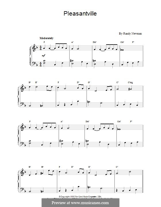 Pleasantville: For easy piano by Randy Newman