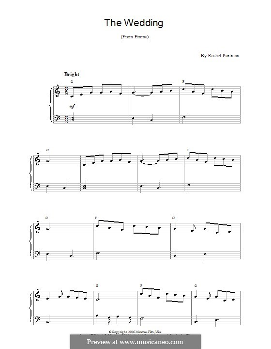 The Wedding (from Emma): For easy piano by Rachel Portman