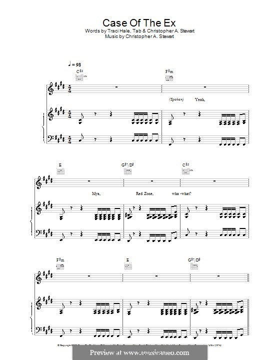 Case of the Ex (Mya): For voice and piano (or guitar) by Tricky Stewart , Tracy Hale