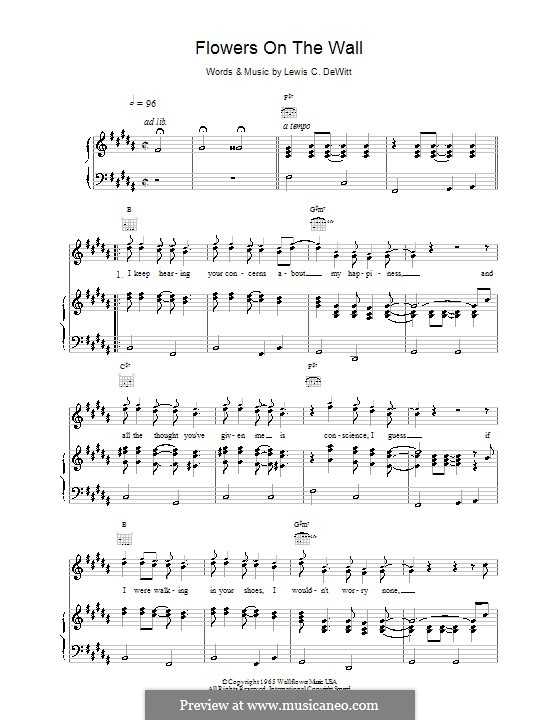 Flowers on the Wall (from Pulp Fiction): For voice and piano or guitar (The Statler Brothers) by Lewis C. Dewitt