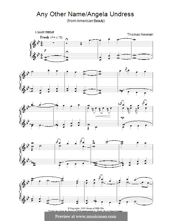 Any Other Name/Angela Undress (from American Beauty): For piano by Thomas Newman