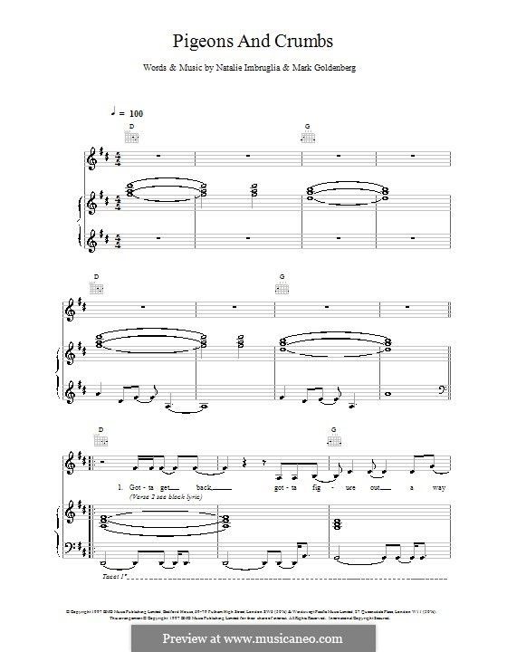 Pigeons and Crumbs: For voice and piano (or guitar) by Mark Goldenberg